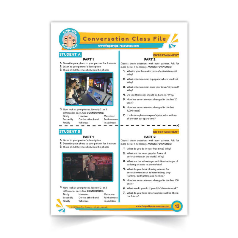 Entertainment and fun -Speaking-Activity-ESL-Conversation-Class-www.fingertips-resources.com