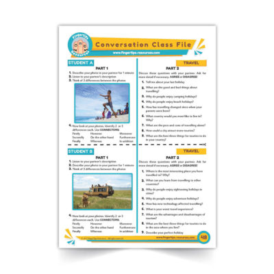 Travel and Holidays - Speaking Activity - ESL Conversation Class - www.fingertips-resources.com