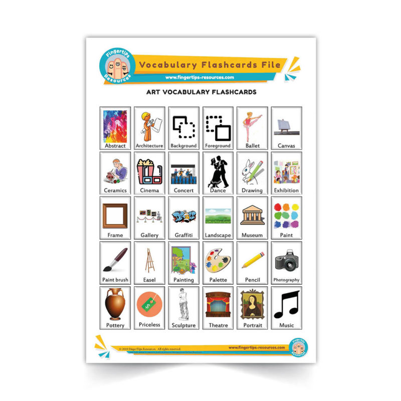 art - English Vocabulary Flashcards- ESL - www.FingerTips-Resources.com3