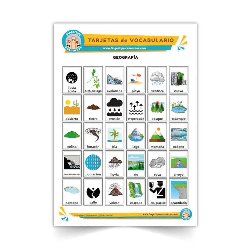 geografia - Spanish Vocabulary Flashcards - Español - www.FingerTips-Resources.com22