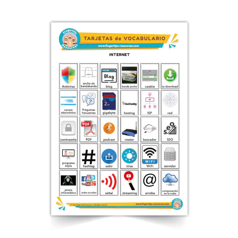 internet - Spanish Vocabulary Flashcards - Español - www.FingerTips-Resources.com27