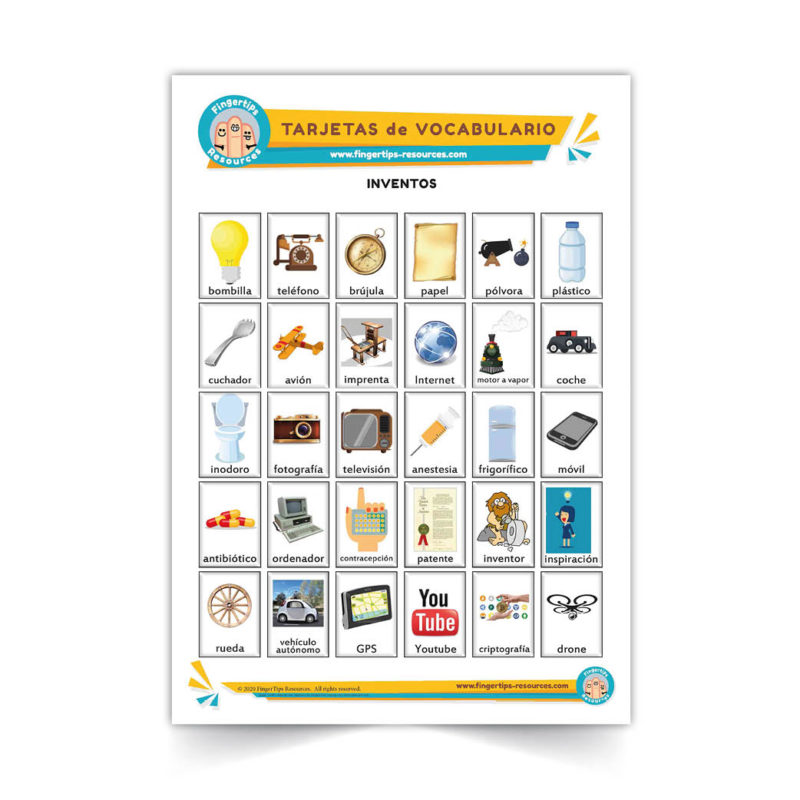 inventos - Spanish Vocabulary Flashcards - Español - www.FingerTips-Resources.com46