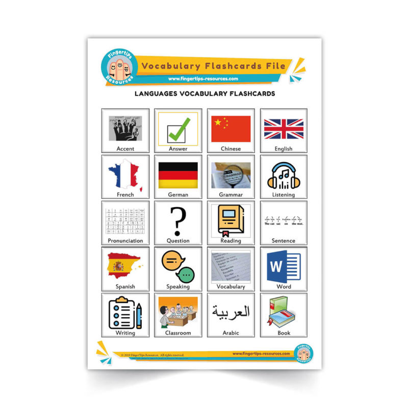 languages - English Vocabulary Flashcards- ESL - www.FingerTips-Resources.com29