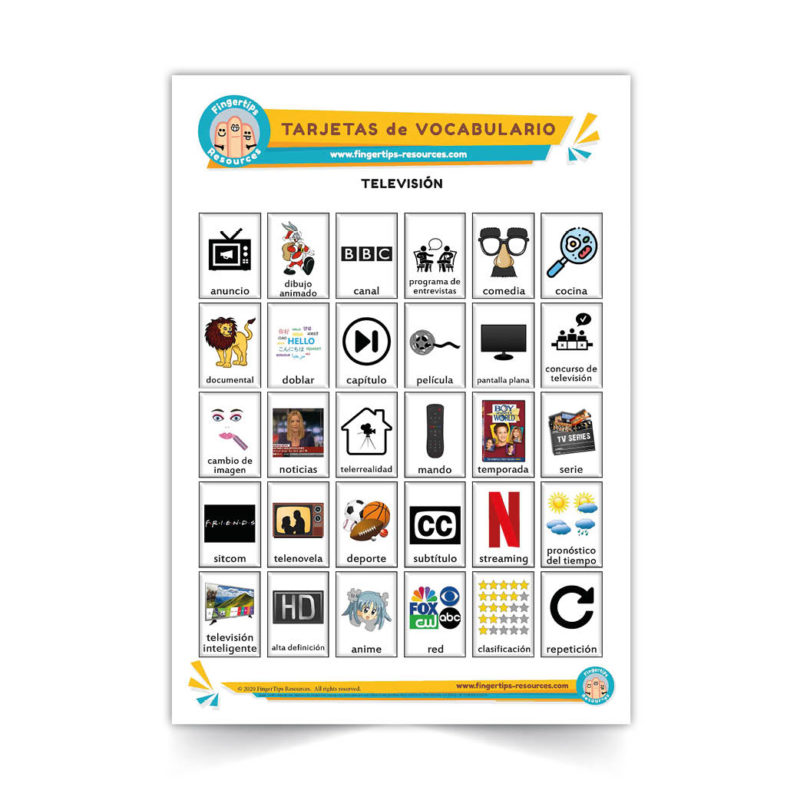 television - Spanish Vocabulary Flashcards - Español - www.FingerTips-Resources.com36