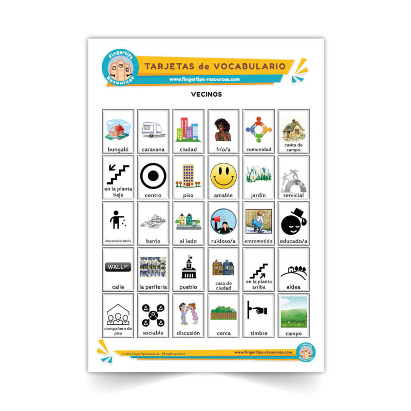 vecinos - Spanish Vocabulary Flashcards - Español - www.FingerTips-Resources.com50